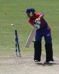 Sandeep Lamichhane of Nepal is bowled out by Ali Evans (unseen) during the ICC Cricket World Cup Qualifier between Scotland v Nepal at Queens Sports Club on March 8, 2018 in Bulawayo, Zimbabwe (©ICC).