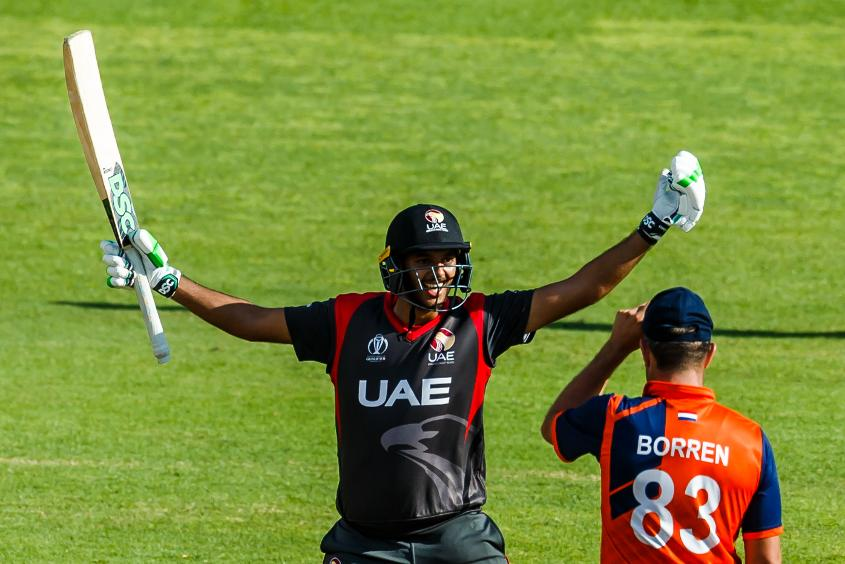 UAE batsman Chirag Suri celebrates victory during a Group A World Cup Qualifier cricket match played between United Arab Emirates and the Netherlands at Harare Sports Club in Harare March 8 2018 (©ICC).