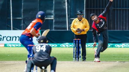 UAE bowler Ahmed Raza in action during a Group A World Cup Qualifier cricket match between United Arab Emirates and Netherlands played at Harare Sports Club March 8 2018 (©ICC).