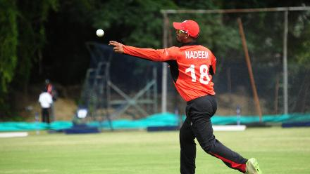 Hong Kong player Nadeem Ahmed fields in their Group B match against Afghanistan at BAC in Bulawayo, March 8 2018 (©ICC).