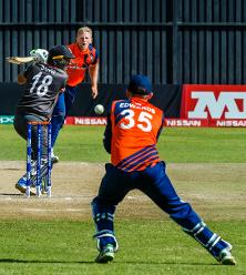 Dutch bowler Timm van der Gugten bowls to UAE batsman Chirag Suri during a Group A World Cup Qualifier cricket match played between United Arab Emirates and the Netherlands at Harare Sports Club in Harare March 8 2018 (©ICC).