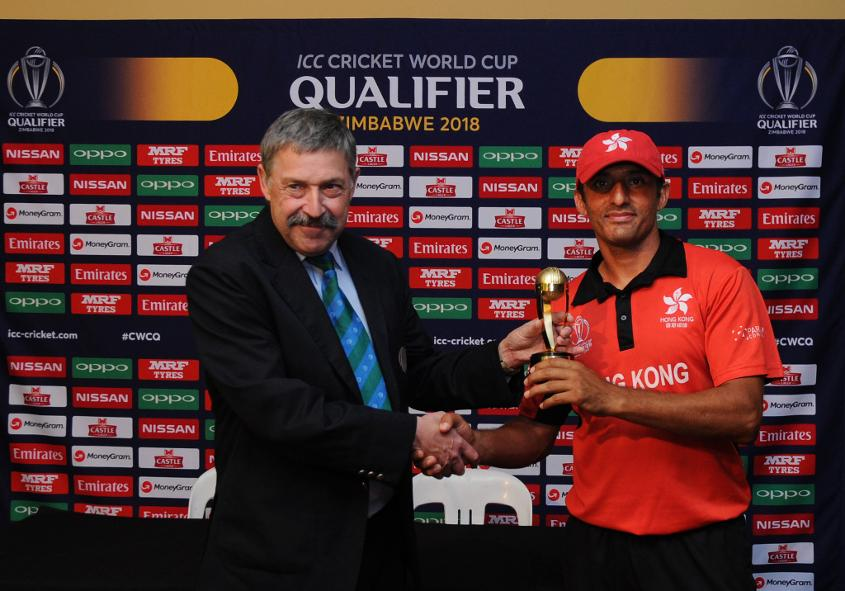 Hong Kong spin bowler Ehsan Khan gets the player of the match award from David Jukes with bowling figures of 4/33 in 9 overs as Hong Kong beat Afghanistan by 30 runs (DLS method) at BAC in Bulawayo, Mar 8 2018 (©ICC).