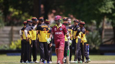 Papua New Guinea players celebrate the wicket of Jason Mohammed of The Windies during The Cricket World Cup Qualifier between The Windies and Papua New Guinea at The Old Hararians on March 8, 2018 in Harare, Zimbabwe (©ICC).