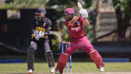 Jack Vare of Papua New Guinea looks on as Shai Hope of The Windies hits out during The Cricket World Cup Qualifier between The Windies and Papua New Guinea at The Old Hararians on March 8, 2018 in Harare, Zimbabwe (©ICC).