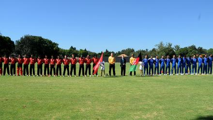 Afghanistan and Hong Kong line up for their national anthems in round three of the ICC Cricket World Cup Qualifiers Trophy at Bulawayo Athletic Club, March 8 2018 (©ICC).