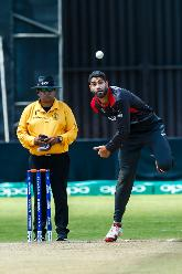 UAE bowler Ahmed Raza bowling during a Group A World Cup Qualifier cricket match between United Arab Emirates and Netherlands played at Harare Sports Club March 8 2018 (©ICC).