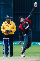 UAE bowler Ahmed Raza in his bowling stride during a Group A World Cup Qualifier cricket match between United Arab Emirates and Netherlands played at Harare Sports Club March 8 2018.