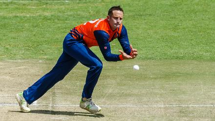 Dutch bowler Roelof van der Merwe fields off his own bowling during a Group A World Cup Qualifier cricket match played between United Arab Emirates and the Netherlands at Harare Sports Club in Harare March 8 2018 (©ICC).