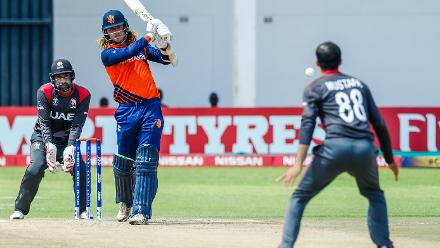 Netherlands batsman Maxwell O'Dowd in action during a Group A World Cup Qualifier cricket match between United Arab Emirates and Netherlands played at Harare Sports Club March 8 2018 (©ICC).