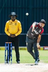 UAE bowler Muhammad Naveed in his bowling stride during a Group A World Cup Qualifier cricket match played between United Arab Emirates and the Netherlands at Harare Sports Club in Harare March 8 2018 (©ICC).