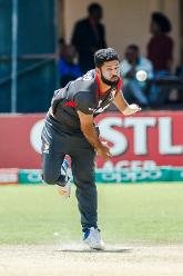 UAE bowler Muhammad Naveed bowled during a Group A World Cup Qualifier cricket match played between United Arab Emirates and the Netherlands at Harare Sports Club in Harare March 8 2018 (©ICC).
