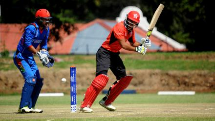 Hong Kong's Anshuman Rath pushes a single down the leg side against Afghanistan at the Bulawayo Athletic Club, March 8 2018 (©ICC).