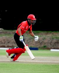 Hong Kong batsman Shahid Wasif takes a run against Afghanistan in their Group B, ICC Cricket World Cup Qualifier at BAC in Bulawayo, Mar 8 2018 (©ICC).