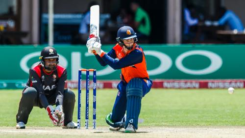 Dutch batsman Pieter Seelar on one knee during a Group A World Cup Qualifier cricket match played between United Arab Emirates and the Netherlands at Harare Sports Club in Harare March 8 2018 (©ICC).