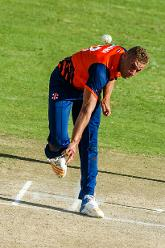 Dutch bowler Vivian Kigma in his stride during a Group A World Cup Qualifier cricket match played between United Arab Emirates and the Netherlands at Harare Sports Club in Harare March 8 2018 (©ICC).