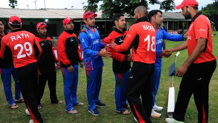Hong Kong and Afghanistan players shake hands at the end of their Group B, ICC Cricket World Cup Qualifier at BAC in Bulawayo, Mar 8 2018 (©ICC).