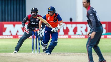 Netherlands batsman Wesley Barresi in action during a Group A World Cup Qualifier cricket match between United Arab Emirates and Netherlands played at Harare Sports Club March 8 2018 (©ICC).