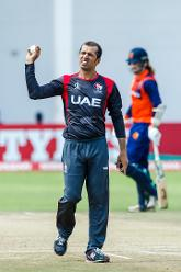 Rohan Mustafa captain bowling during a Group A World Cup Qualifier cricket match between United Arab Emirates and Netherlands played at Harare Sports Club March 8 2018 (©ICC).