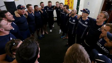 Scotland players and staff celebrate after the ICC Cricket World Cup Qualifier between Scotland v Nepal at Queens Sports Club on March 8, 2018 in Bulawayo, Zimbabwe (©ICC).