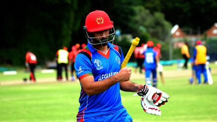 Afghanistan batsman Javed Ahmadi walks off after being caught LBW by Hong Kong bowler Tanwir Afzal in their Group B, ICC Cricket World Cup Qualifier at BAC in Bulawayo, Mar 8 2018 (©ICC).