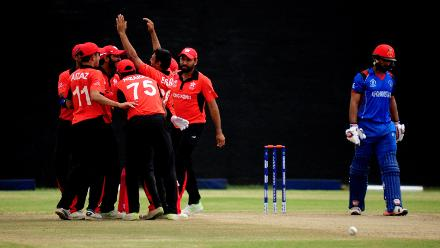 Hong Kong celebrate the wicket of Afghanistan batsman Inhsanullah at BAC in Bulawayo (©ICC).