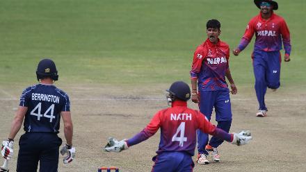 Lamichhane celebrates taking the wicket of Berrington