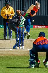 Dutch bowler Timm van der Gugten in action versus the batting of UAE batsman Chirag Suri during a Group A World Cup Qualifier cricket match played between United Arab Emirates and the Netherlands at Harare Sports Club in Harare March 8 2018 (©ICC).