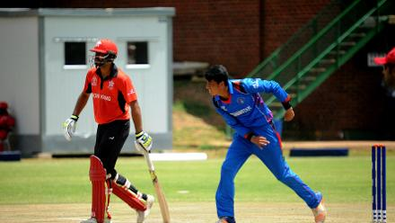 Afghanistan spin bowler Mujeeb Rahman delivers against Hong Kong during their Group B, ICC Cricket World Cup Qualifier at BAC in Bulawayo, Mar 8 2018 (©ICC).