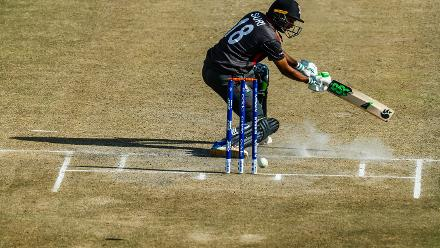UAE batsman Chirag Suri in action during a Group A World Cup Qualifier cricket match played between United Arab Emirates and the Netherlands at Harare Sports Club in Harare March 8 2018 (©ICC).