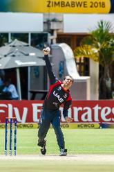 UAE captain Rohan Mustafa in action during a group A World Cup Qualifier match between Papua New Guinea and the United Arab Emirates at Harare Sports Club March 4 2018 (©ICC).