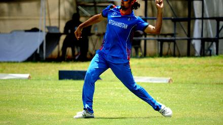 Afghanistan pace bowler Shahpur Zadran in the field against Hong Kong in their Group B, ICC Cricket World Cup Qualifier at BAC in Bulawayo, Mar 8 2018 (©ICC).