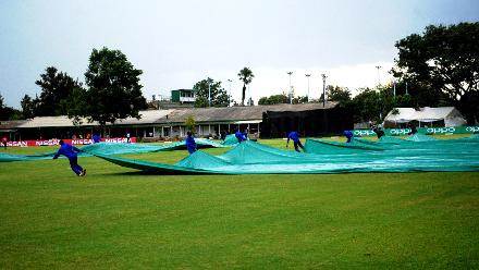 Rain puts a halt to proceedings as the groundsmen rush onto the pitch with the covers with Afghanistan 167/7 in their Group B ICC Cricket World Cup Qualifier clash against Hong Kong at BAC in Bulawayo, Mar 8 2018 (©ICC).