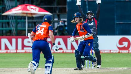 UAE wicket keeper Ghulam Shabbir successfully appeals for the wicket of Maxwell O'Dowd during a Group A World Cup Qualifier cricket match between United Arab Emirates and Netherlands played at Harare Sports Club March 8 2018 (©ICC).