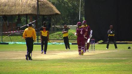 Marlon Samuels starts well for the Windies but is caught for 24