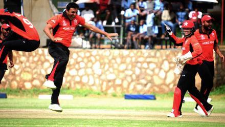 Hong Kong spin bowler Ehsan Khan celebrates bowling Afghanistan batsman Rahman Shah at BAC in Bulawayo (©ICC).