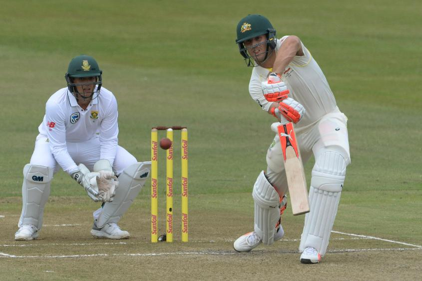 Mitchell Marsh (right) scored 96 runs in the first innings of the first Test