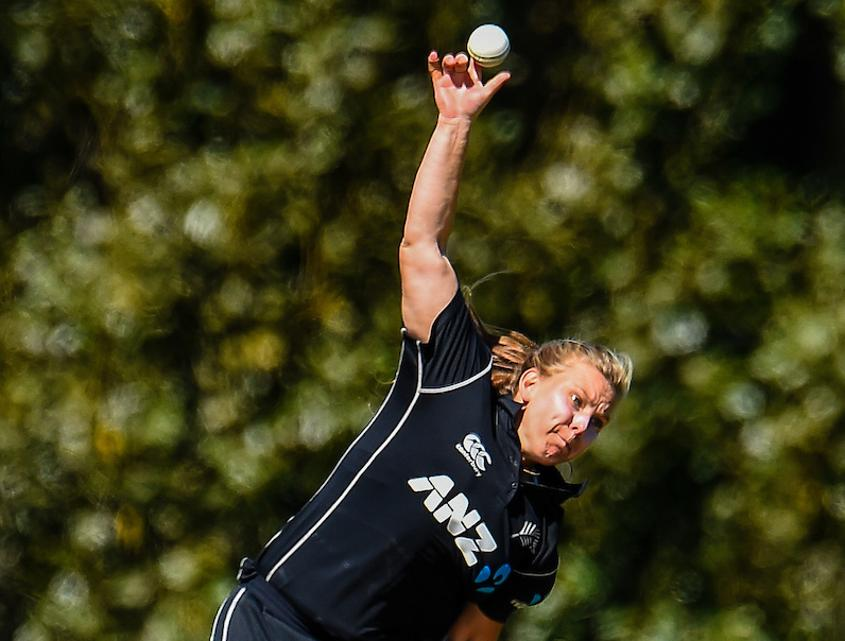 Leigh Kasperek picked up four wickets in the second ODI between New Zealand Women and Windies Women
