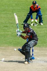 UAE batsman Chirag Suri in batting stance during a Group A World Cup Qualifier cricket match played between United Arab Emirates and the Netherlands at Harare Sports Club in Harare March 8 2018 (©ICC).