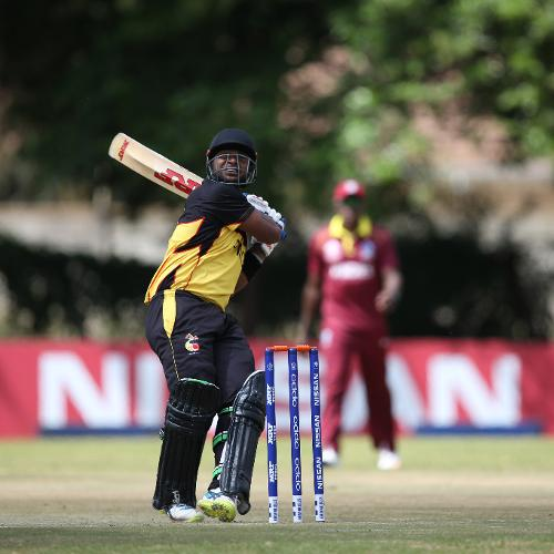 Tony Ura of Papua New Guinea scores runs during the Cricket World Cup Qualifier between The Windies and Papua New Guinea at The Old Hararians on March 8, 2018 in Harare, Zimbabwe (©ICC).