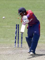 Lalit Rajbanshi of Nepal is bowled out by Ali Evans (unseen) during the ICC Cricket World Cup Qualifier between Scotland v Nepal at Queens Sports Club on March 8, 2018 in Bulawayo, Zimbabwe (©ICC).