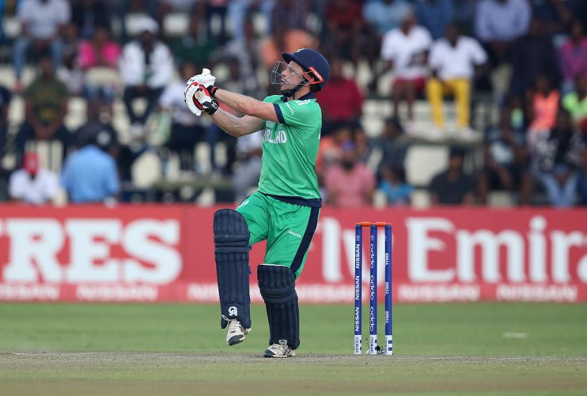 Ed Joyce of Ireland scores runs during The ICC Cricket World Cup Qualifier between The Windies and Ireland at The Harare Sports Club on March 10, 2018 in Harare, Zimbabwe (©ICC).