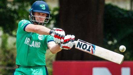 Irish captain William Porterfield plays and misses during a Group A World Cup Qualifier cricket match between United Arab Emirates and Ireland at Old Hararians Sports Club in Harare March 12 2018 (©ICC).