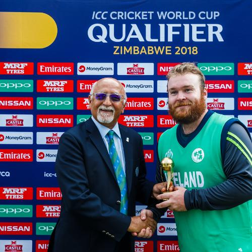 Ireland batsman Paul Stirling awarded man of the match for his 126 runs during a World Cup Qualifier Group A cricket match between United Arab Emirates and Ireland at Old Hararians Sports Club March 12 2018 (©ICC).