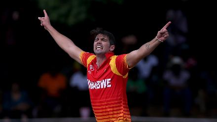 Graeme Cremer of Zimbabwe celebrates after taking the wicket of Richie Berrington (unseen) of Scotland during the ICC Cricket World Cup Qualifier between Zimbabwe and Scotland at Queens Sports Club on March 12, 2018 in Bulawayo, Zimbabwe (©ICC).