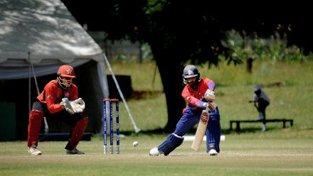 Nepal batsman Gyanendra Mallla plays a shot against Hong Kong in their last match of the Group B, ICC World Cup Qualifier at BAC in Bulawayo, Mar 12 2018 (©ICC).