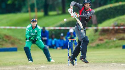 UAE captain Rohan Mustafa playing down the leg side during a group A World Cup Qualifier match between Papua New Guinea and the United Arab Emirates at Harare Sports Club March 12 2018 (©ICC).