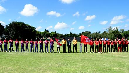 Nepal and Hong Kong stand at attention for their national anthems in their last match of Group B, ICC World Cup Qualifier at BAC in Bulawayo, Mar 12 2018 (©ICC).