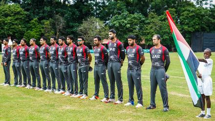 UAE players stand during the singing of their national anthem ahead of a Group A World Cup Qualifier cricket match between United Arab Emirates and Ireland at Old Hararians Sports Club in Harare March 12 2018 (©ICC).