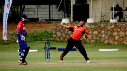 Hong Kong bowler Ehsan Khan delivers to Hong Kong batsman Areif Sheikh during the last match of their Group B, ICC World Cup Qualifier at BAC in Bulawayo, Mar 12 2018 (©ICC).