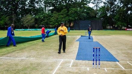 Covers on the pitch during a Group A World Cup Qualifier cricket match between United Arab Emirates and Ireland at Old Hararians Sports Club in Harare March 12 2018 (©ICC).